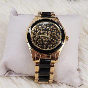 Beautiful Black & Gold Watch w/ Leopard Print Face